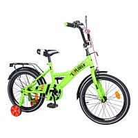 Двухколесный велосипед для детей EXPLORER T-21819, с багажником и тренировочными колесами, зеленый