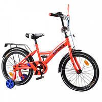 Двухколесный детский велосипед EXPLORER T-21818, с багажником, звоноком и с приставными колесами, красный