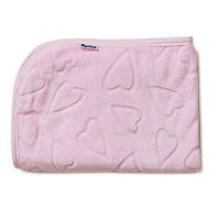 Детский плед двусторонний для новорожденного велюр Сердечки 80х104 см., розовый