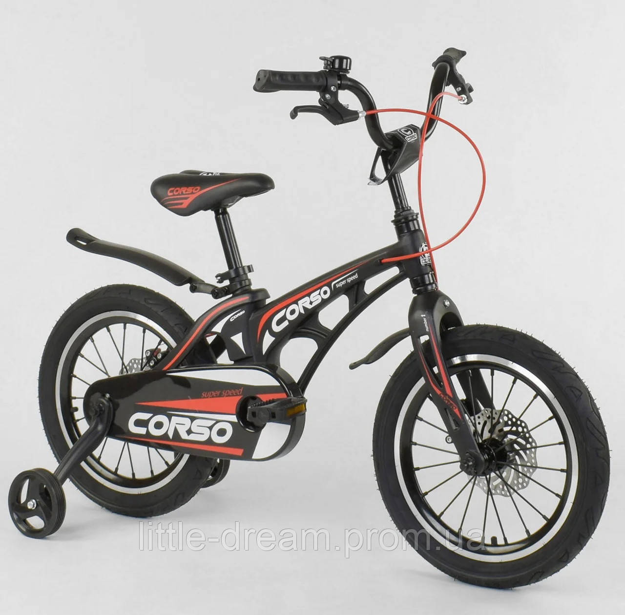 """Детский двухколёсный велосипед 18"""" магниевой рамой и алюминиевыми двойными дисками Corso MG-18 W 338 черный"""