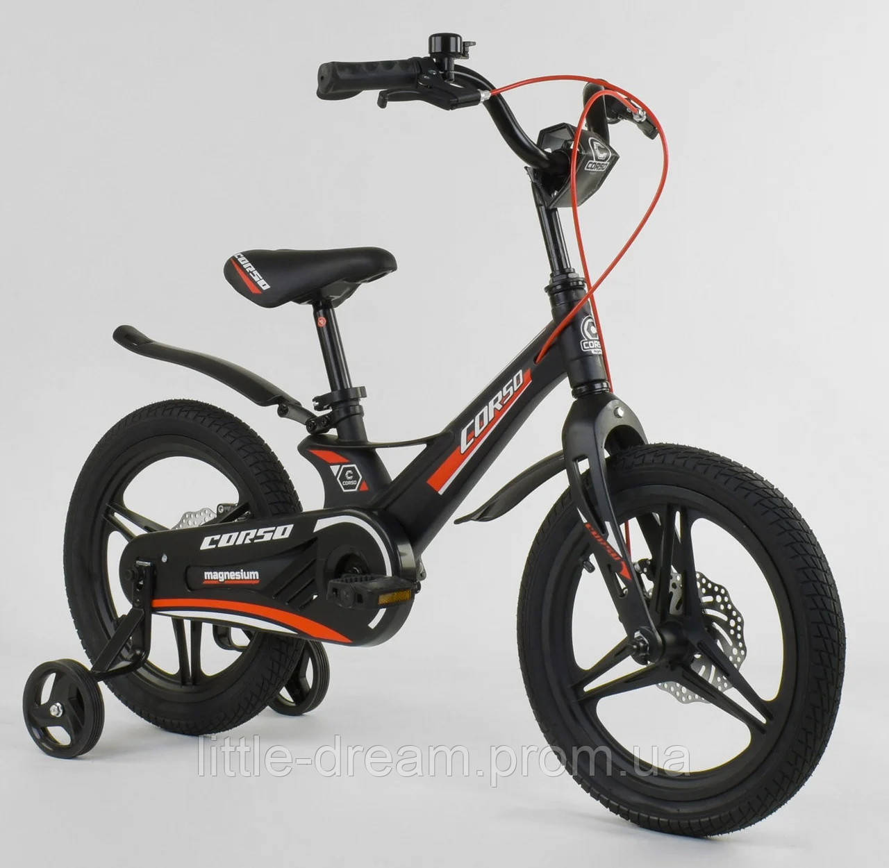 """Детский двухколёсный велосипед 16"""" магниевой рамой и алюминиевыми двойными дисками Corso MG-27308 черный"""