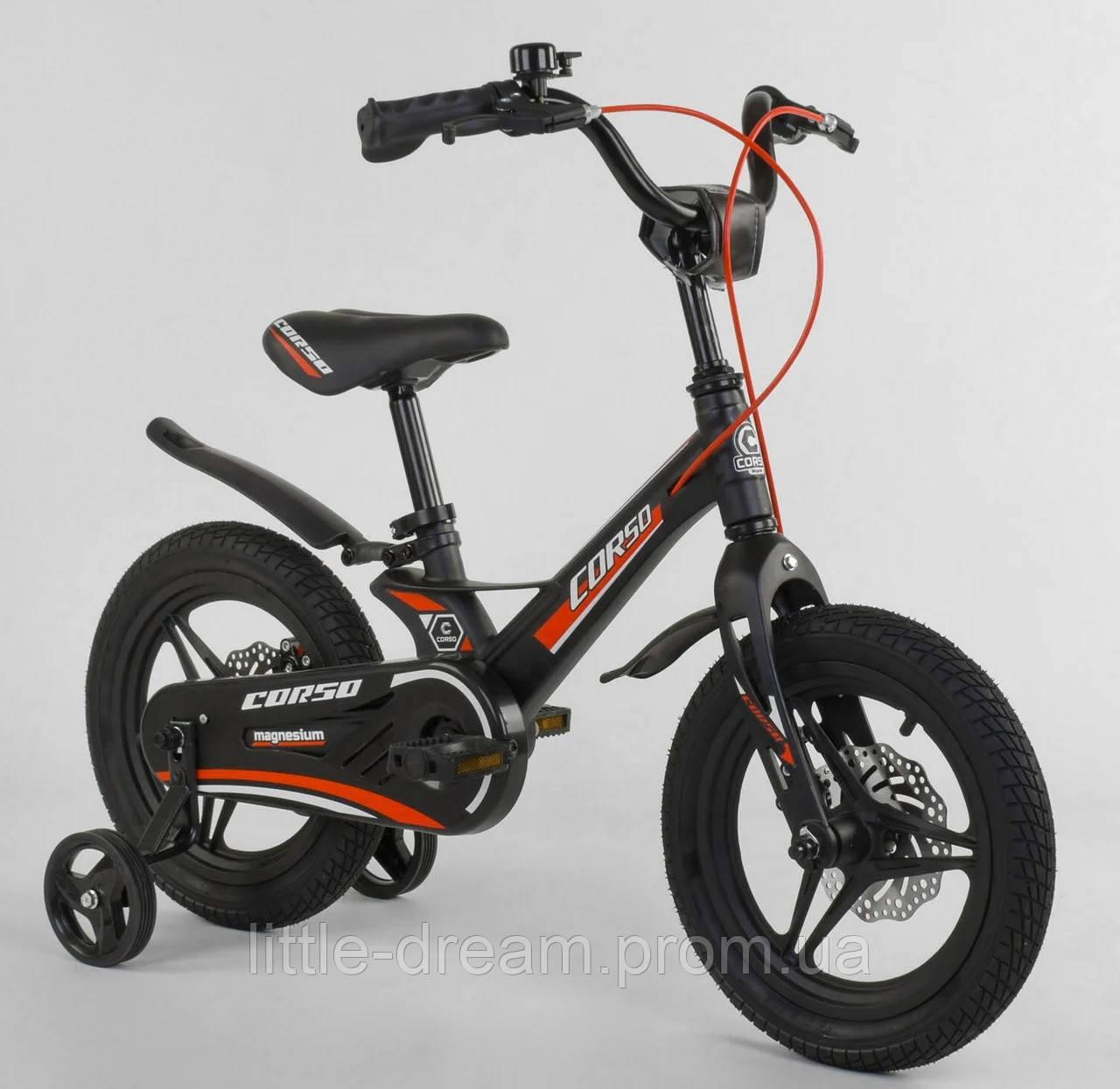 """Детский двухколёсный велосипед 14"""" с магниевой рамой литыми дисками дисковые тормоза Corso MG-28750 черный"""
