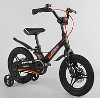 """Детский двухколёсный велосипед 14"""" с магниевой рамой литыми дисками дисковые тормоза Corso MG-28750 черный, фото 1"""