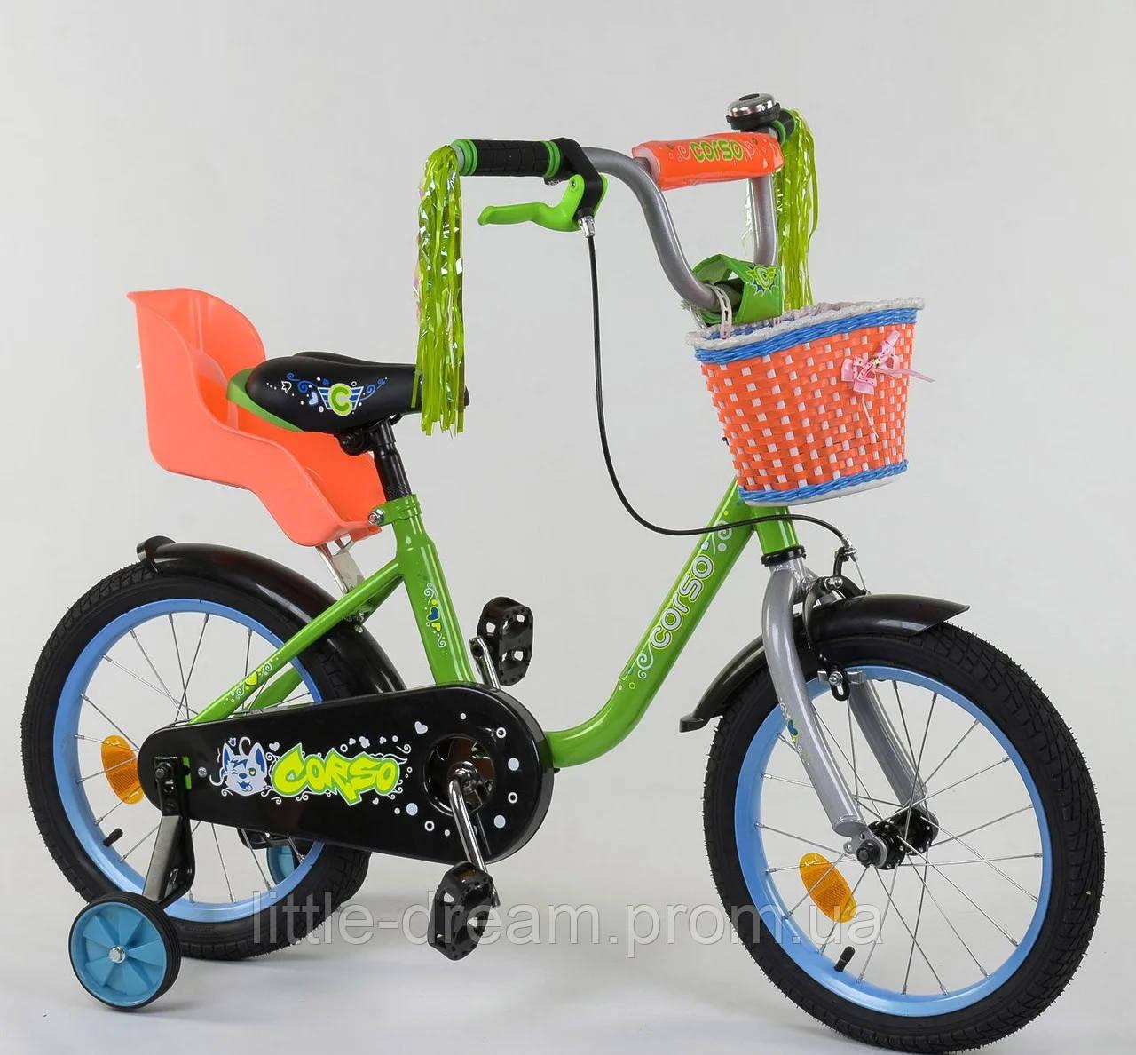 """Детский двухколёсный велосипед 16"""" с ручным тормозом колёса с надувной камерой корзинка для игрушек Corso1604"""