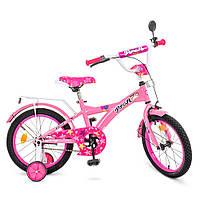 """Детский двухколёсный велосипед 18"""" с дополнительными колесами PROFI Original girl T1861 Розовый, фото 1"""