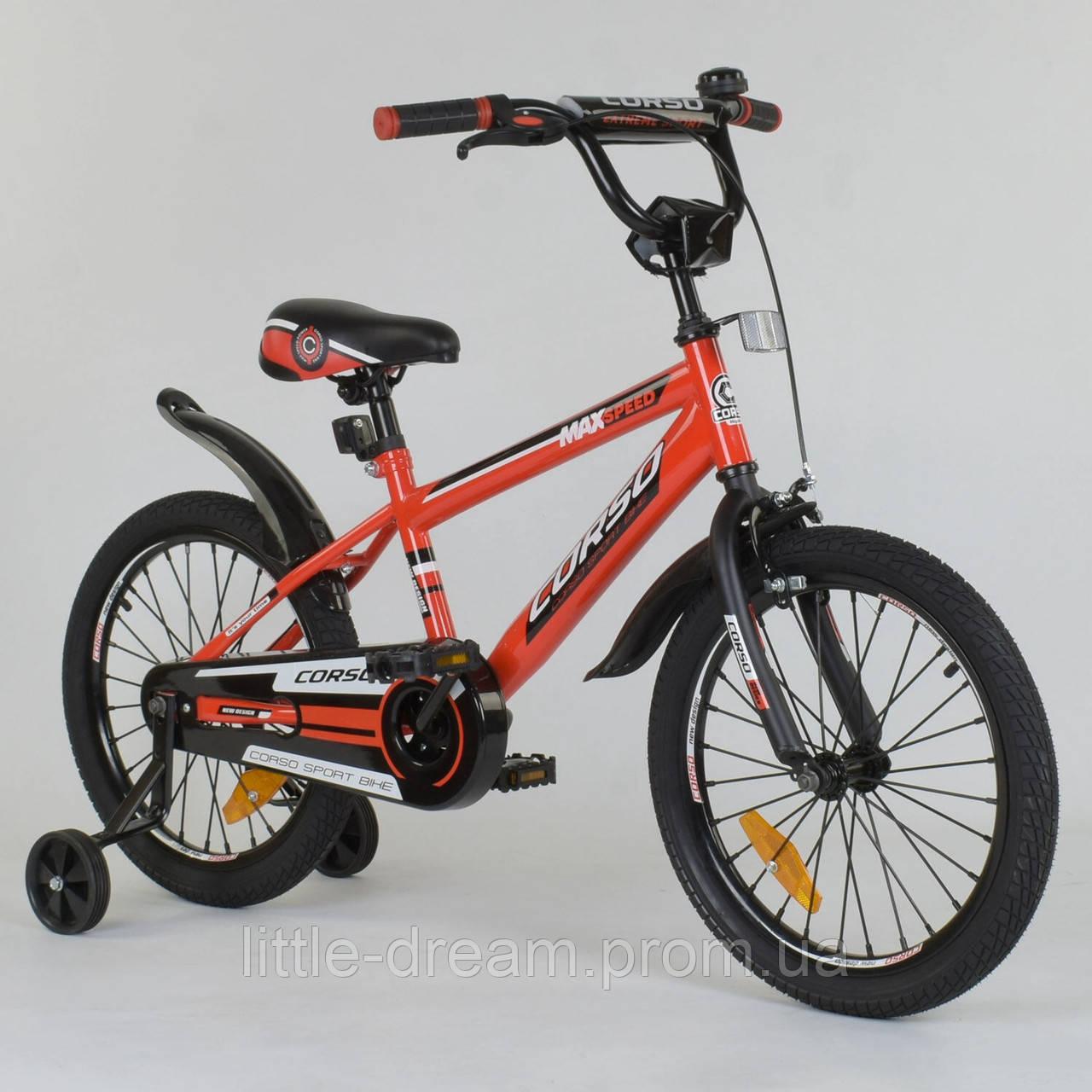 """Велосипед детский двухколесный 18"""" дюймов Corso ST-2077 Красный, стальные противоударные диски"""