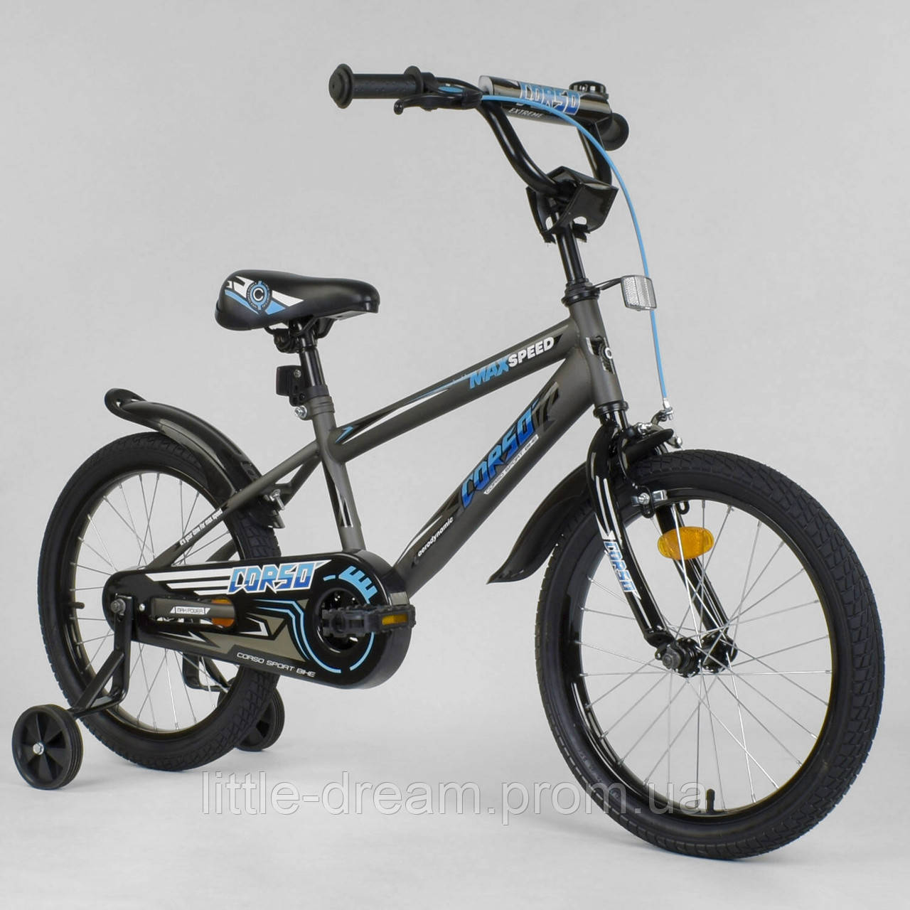 """Двухколесный детский велосипед 18"""" дюймов Corso EX-18 N 8712 Серый"""