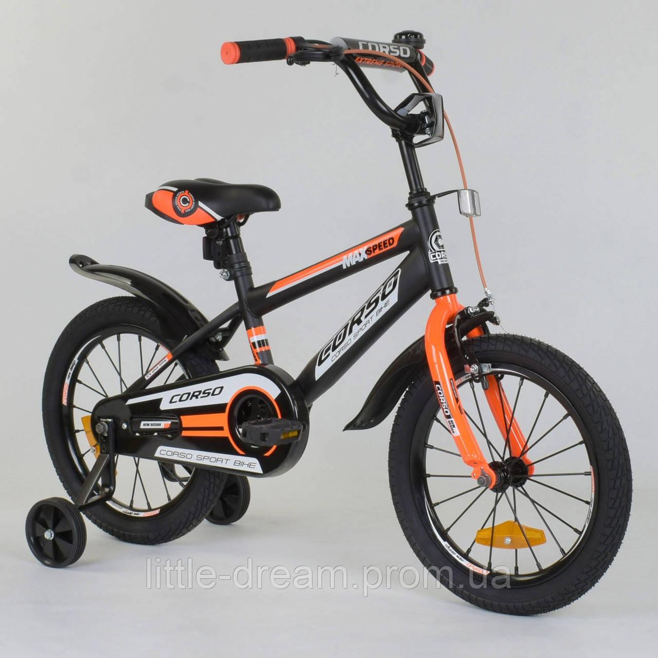 """Детский двухколесный велосипед 16"""" с ручным тормозом Corso ST-8022 Темно-серый с оранжевым, стальная рама"""