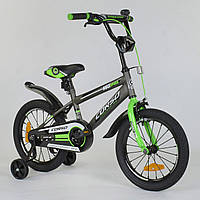"""Детский двухколесный велосипед 16"""" с ручным тормозом Corso ST-5095 Серый с зеленым, стальная рама"""