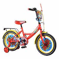 """Детский двухколёсный велосипед 16"""" с металлической рамой и съёмными колёсами Baby Tilly Wonder T-216219 красный"""