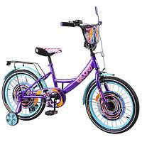"""Детский двухколёсный велосипед 18"""" с металлической рамой и съёмными страховочными колёсами TILLY Glow T218213"""