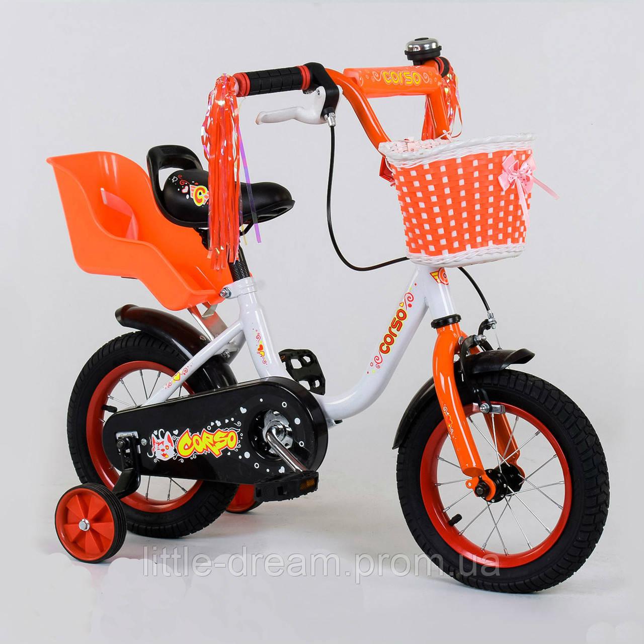 """Детский двухколёсный велосипед 12"""" с ручным тормозом и съемными страховочными колесами Corso 12-85 белый"""