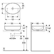 VARIFORM умывальник накладной, овальной формы 55*40см, без перелива