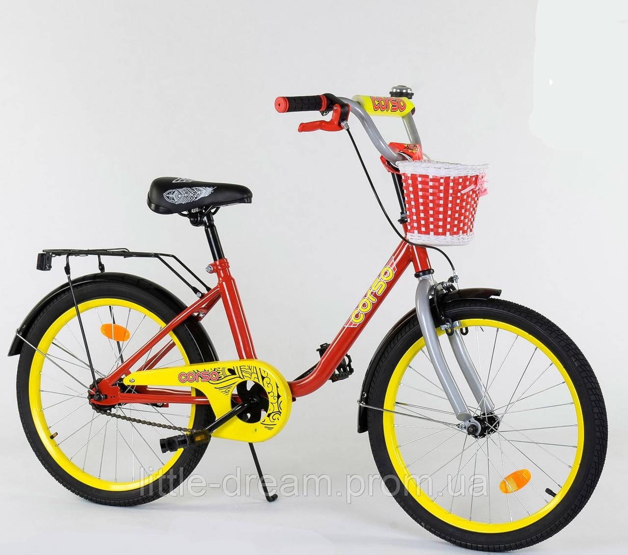 """Детский двухколесный велосипед 20"""" с ручным тормозом металлическими дисками и корзинкой Corso 2093 красный"""