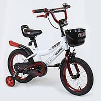 """Велосипед 14"""" дюймов 2-х колёсный R - 14081 """"CORSO"""", ручной тормоз, звоночек, сидение с ручкой, дополнительные колеса"""