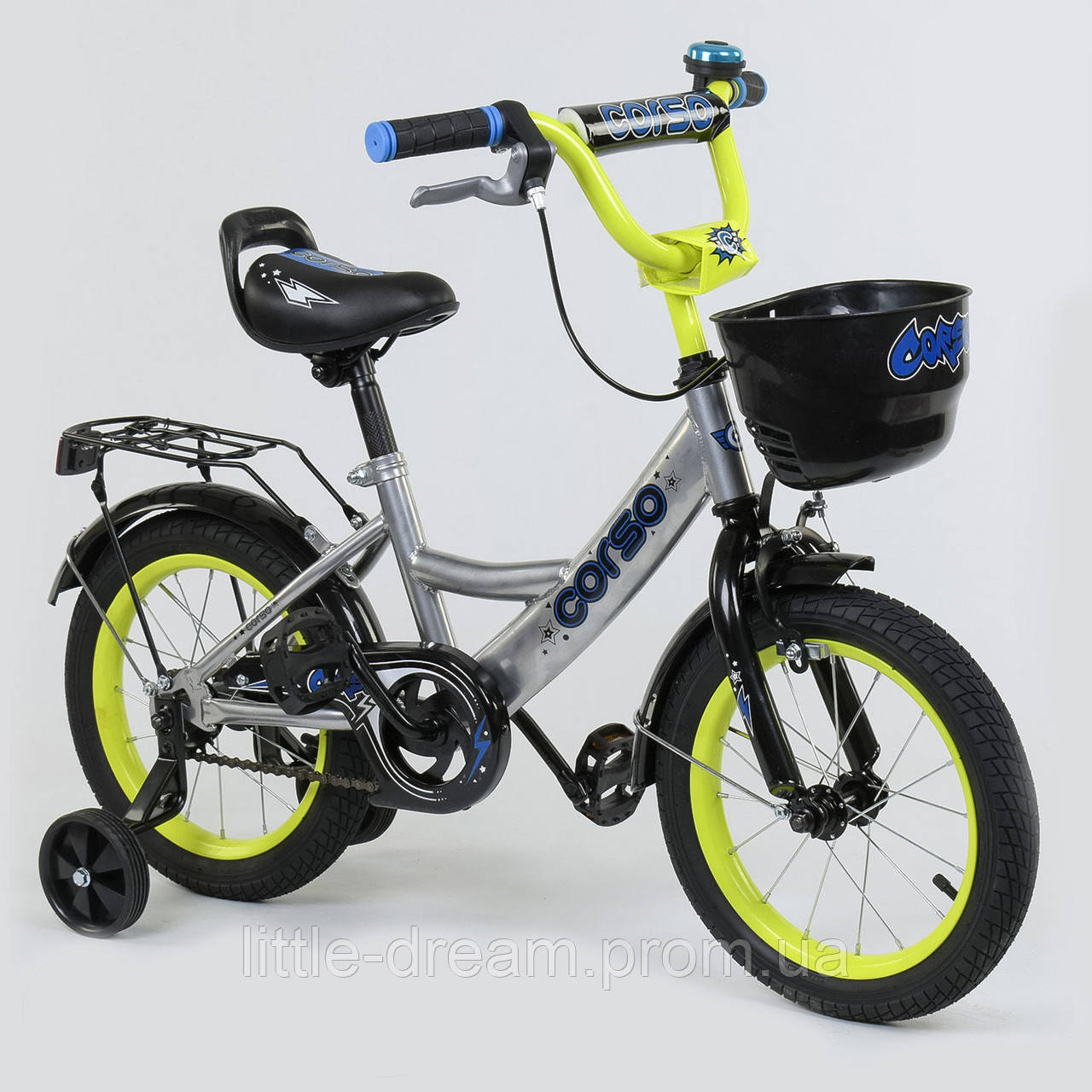 """Велосипед 14"""" дюймов 2-х колёсный G-14590 """"CORSO"""", ручной тормоз, звоночек, сидение с ручкой, дополнительные колеса"""