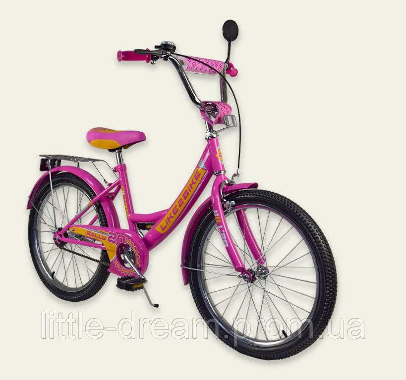 """Велосипед 2-х колёс 20"""" 192018 Like2bike RALLY, фуксия, без тренировочных колёс"""