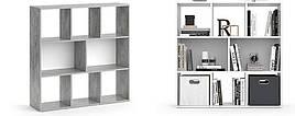 Стеллаж для дома, перегородка, книжный шкаф из ДСП 8 открытых отсека, Бетон