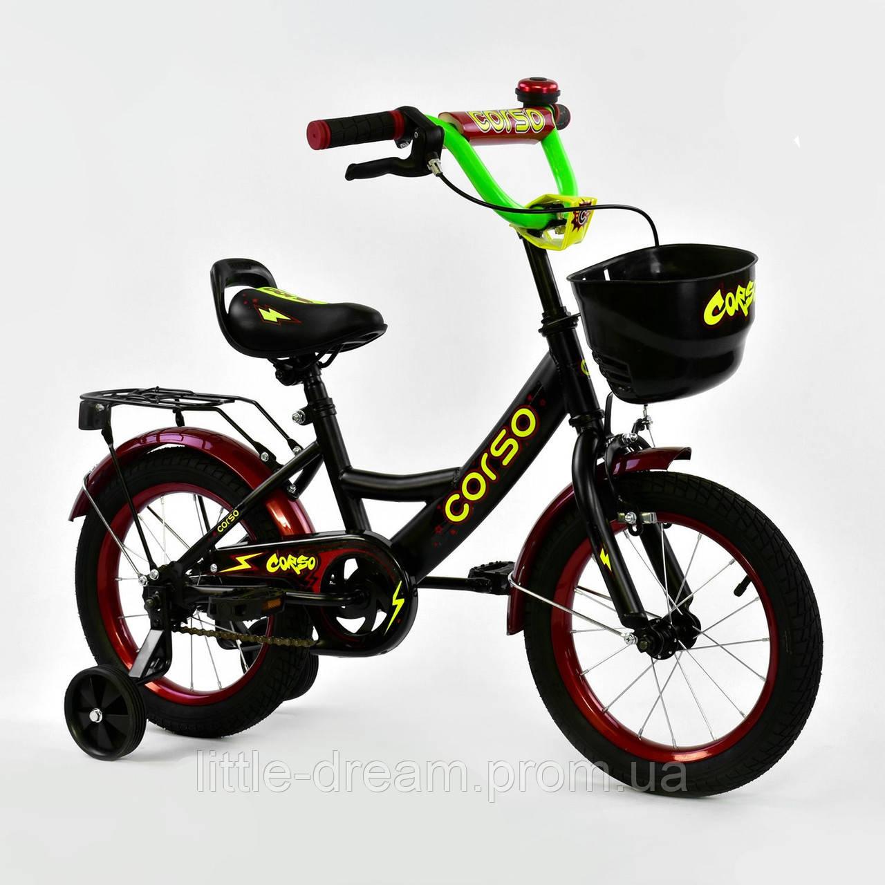"""Велосипед 14"""" дюймов 2-х колёсный G-14370 """"CORSO"""", ручной тормоз, звоночек, сидение с ручкой, дополнительные колеса"""