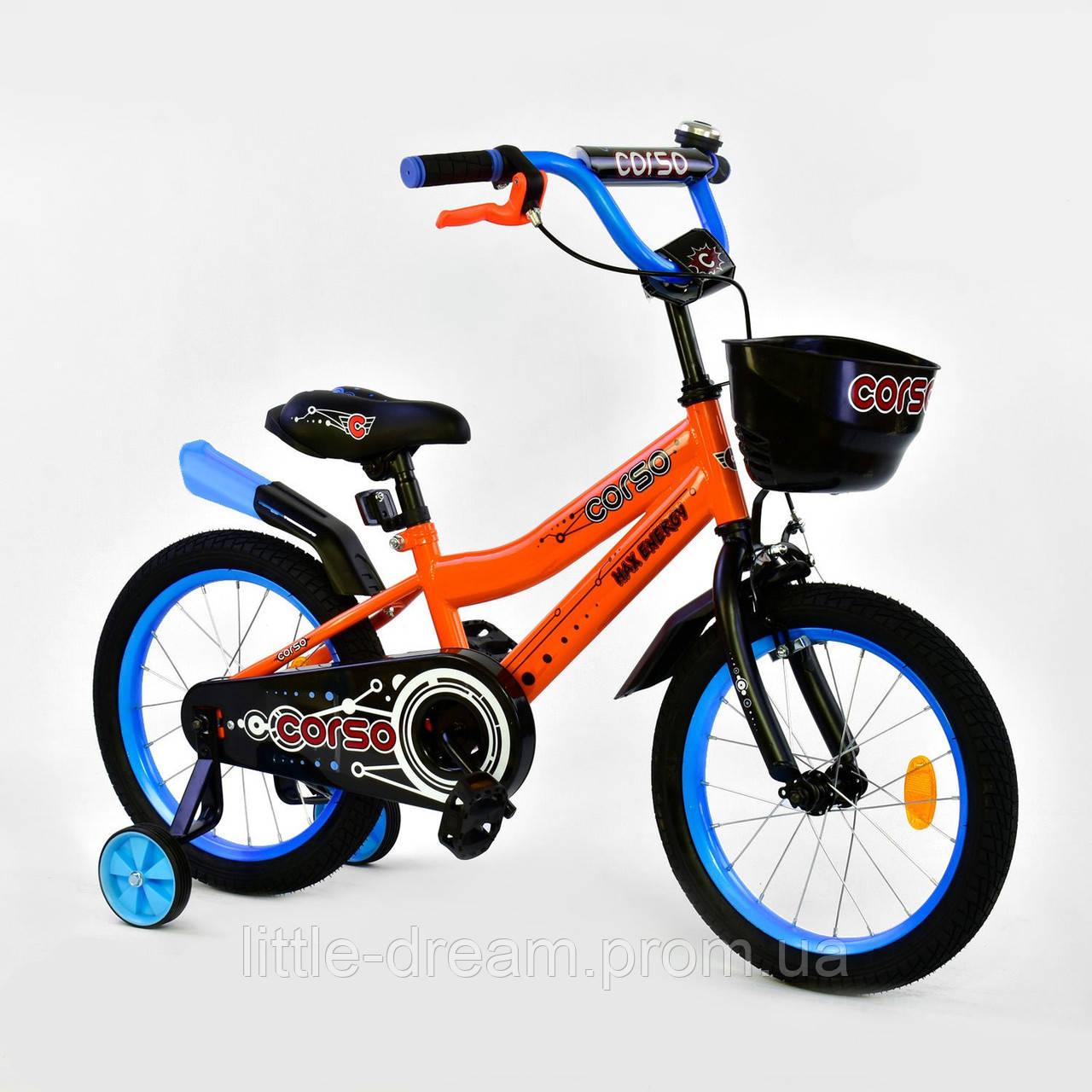 """""""Велосипед 16"""""""" дюймов 2-х колёсный R-16370 """"""""CORSO"""""""", ручной тормоз, звоночек, сидение с ручкой, дополнительные колеса"""""""