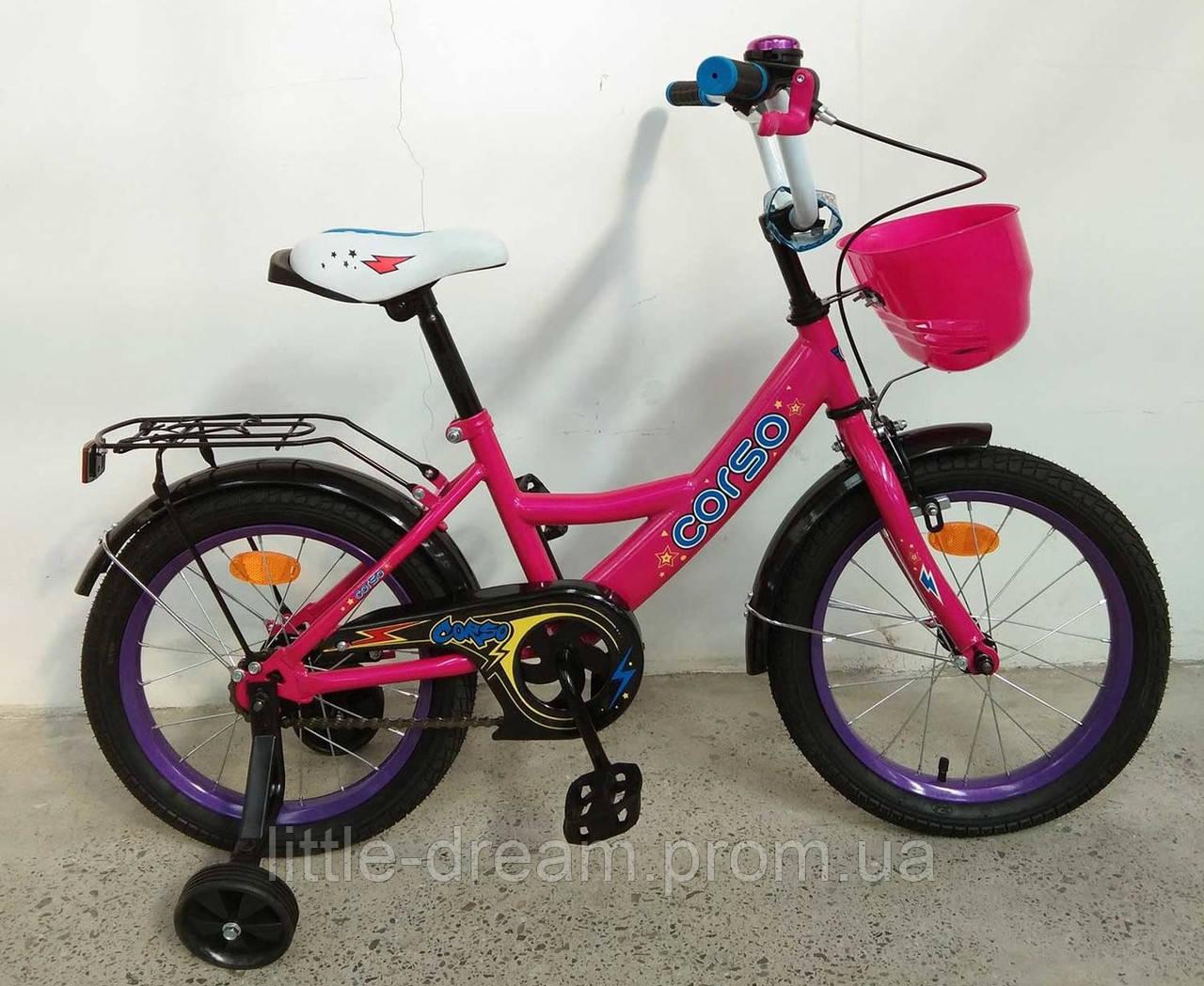 """Велосипед 16"""" дюймов 2-х колёсный G-16075 """"CORSO"""", ручной тормоз, звоночек, сидение с ручкой, дополнительные колеса"""