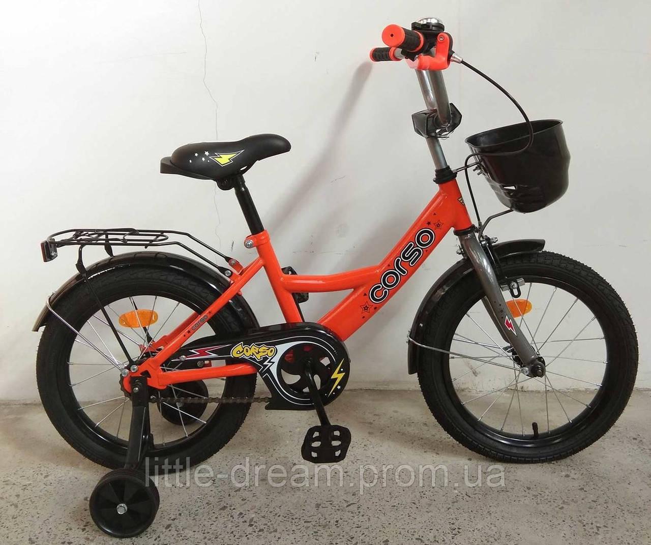 """Детский двухколесный велосипед 16"""" с ручным тормозом и родительской ручкой на сидении Corso G-16002 оранжевый"""