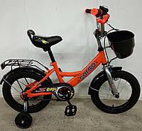 """Детский двухколесный велосипед 14"""" с ручным тормозом и родительской ручкой на сидении Corso G-14208 оранжевый"""