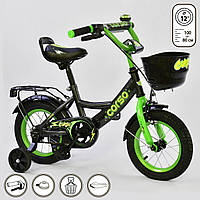 """Детский двухколёсный велосипед 12"""" с ручным тормозом и съемными страховочными колесами Corso G-12933 черный"""