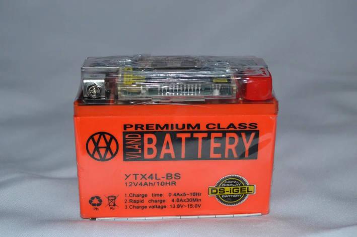 Аккумулятор 4A 12V Honda/Yamaha (YTX4L-BS) VLAND гелевий с датчиком 113x70x87, фото 2
