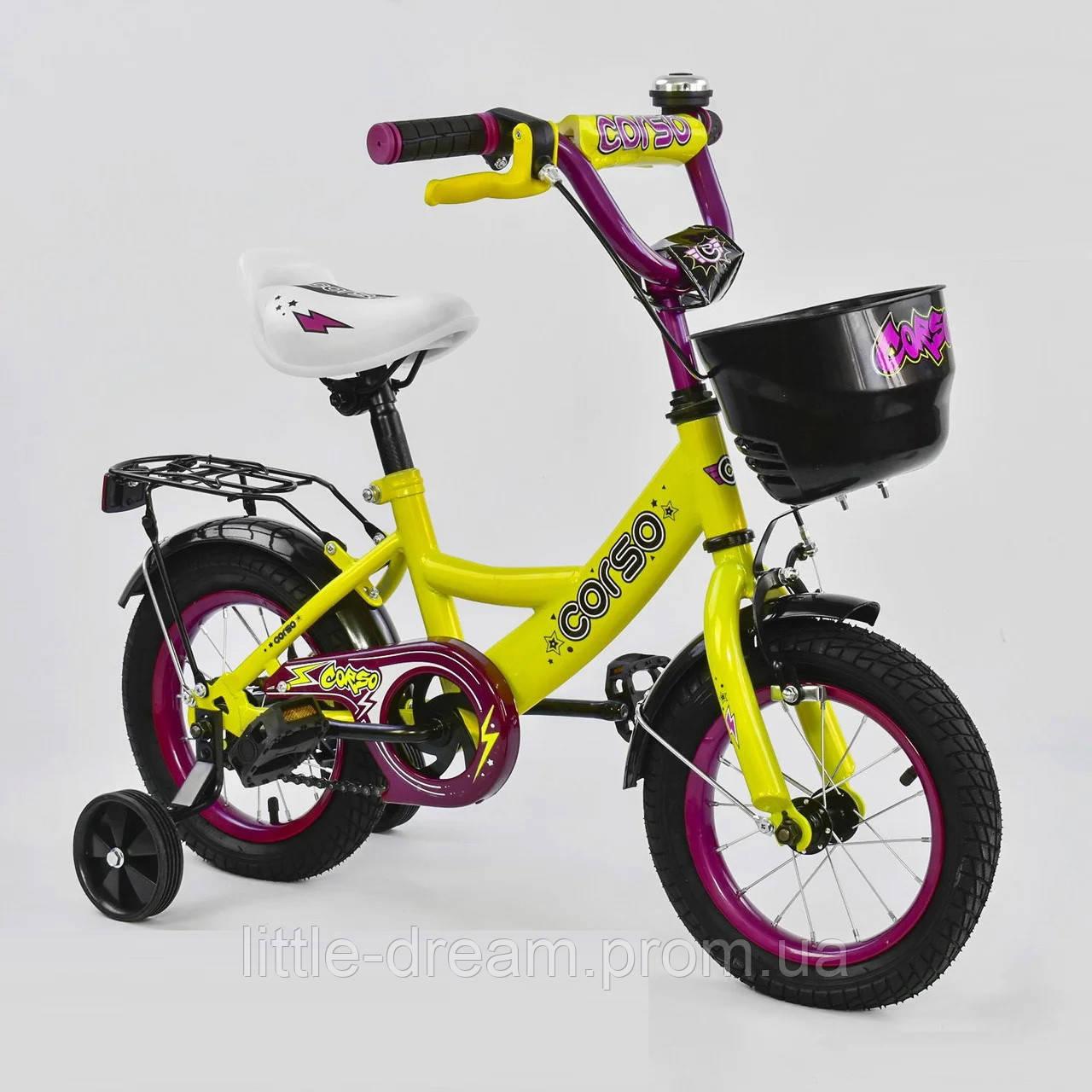 """Детский двухколёсный велосипед 12"""" с ручным тормозом и съемными страховочными колесами Corso G-12310 желтый"""