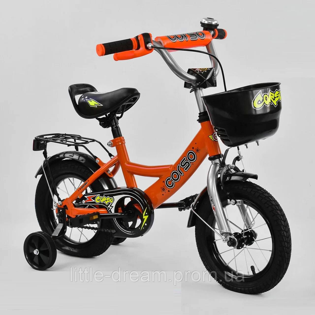 """Детский двухколёсный велосипед 12"""" с ручным тормозом и съемными страховочными колесами Corso G12220 оранжевый"""