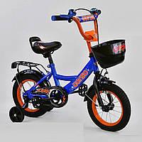"""Детский двухколёсный велосипед 12"""" с ручным тормозом и съемными страховочными колесами Corso G-12108 электрик"""