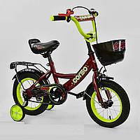 """Детский двухколёсный велосипед 12"""" с ручным тормозом и съемными страховочными колесами Corso G-12041 красный"""