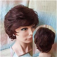 Парик из натуральных волос каскад каштановый VEGA-33