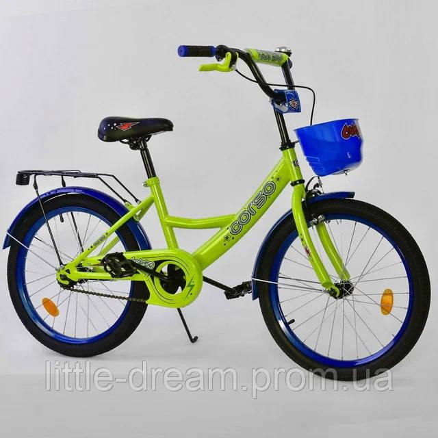"""Детский двухколесный велосипед 20"""" с ручным тормозом металлическими дисками и корзинкой Corso G20424 салатовый"""
