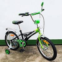 """Велосипед Tilly Explorer 18"""" T-21816 black + green с дополнительными колесами"""
