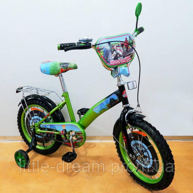 """Велосипед Tilly Мотогошщик 16"""" Т-216212 green + black с дополнительными колесами"""