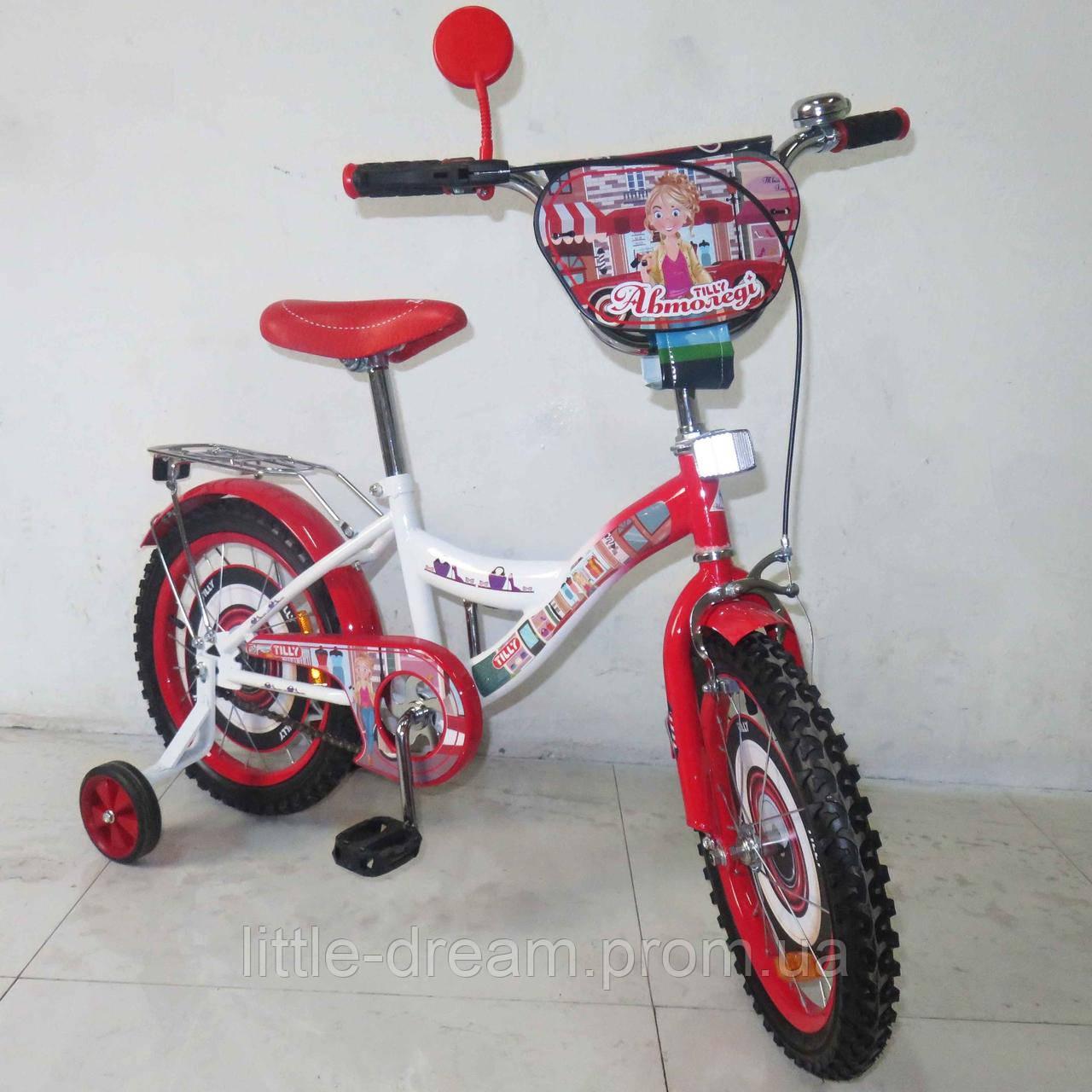 """Велосипед Tilly Автоледи 16"""" Т-21628 white + crimson с дополнительными колесами"""