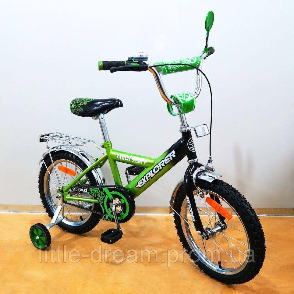 """Велосипед Tilly Explorer 16"""" T-21619 green + black с дополнительными колесами"""