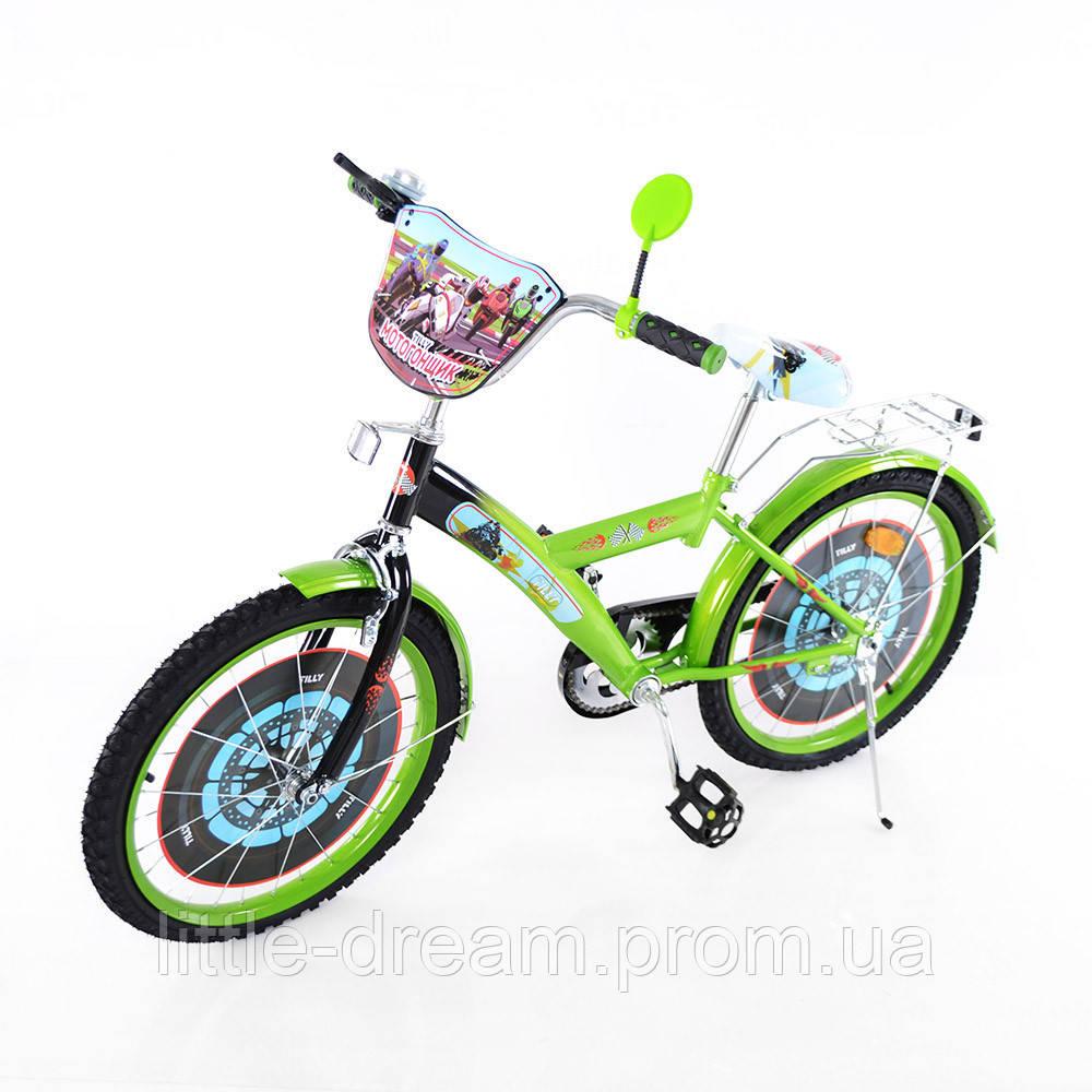 Велосипед TILLY Мотогонщик 20'' T-22026 green + black
