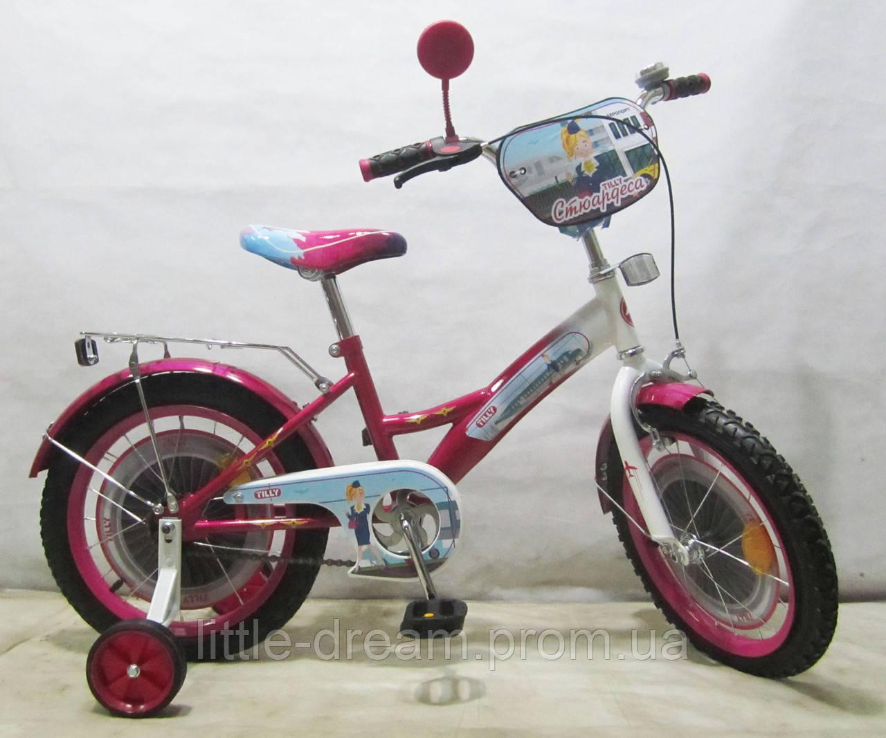 Велосипед TILLY Стюардеса 16'' T-21626 dark crimson + white