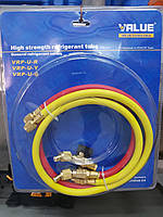 Комплект заправочных шлангов Value с вентилями для фреона R-410A, 150 см