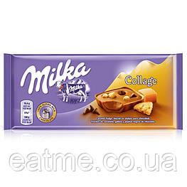Milka collage caramel Молочный шоколад с кусочками карамели, печенья и чёрного шоколада