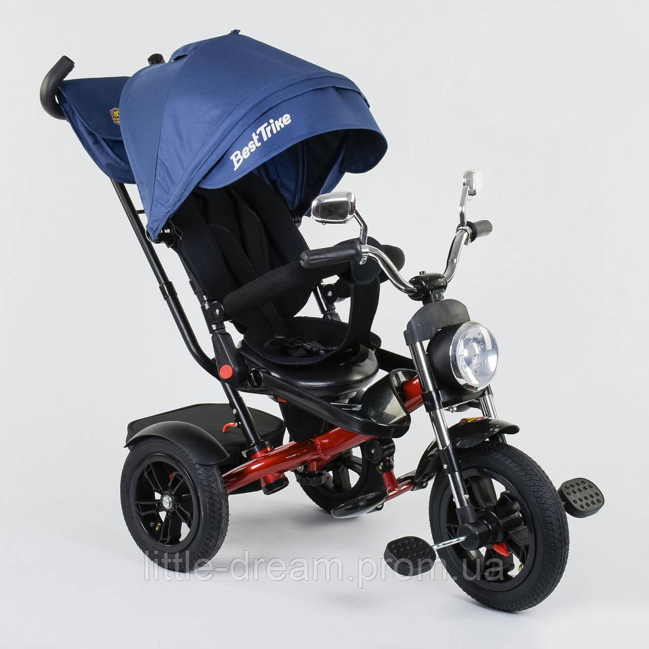 Велосипед 3-х колёсный Best Trike 4490 - 9037, поворотное сиденье, складной руль, русское озвучивание, надувные колеса, пульт включения звука и света