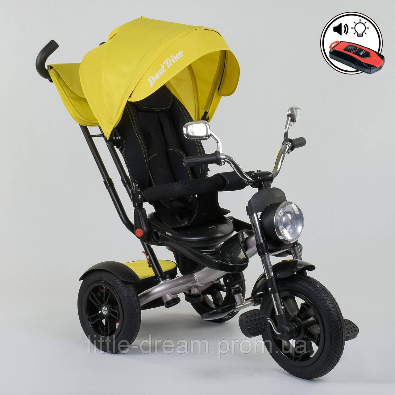 Велосипед 3-х колёсный Best Trike 4490 - 3948, поворотное сиденье, складной руль, русское озвучивание, надувные колеса, пульт включения звука и света