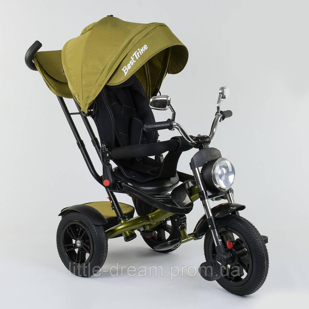 Велосипед 3-х колёсный Best Trike 4490 - 2749, поворотное сиденье, складной руль, русское озвучивание, надувные колеса, пульт включения звука и света