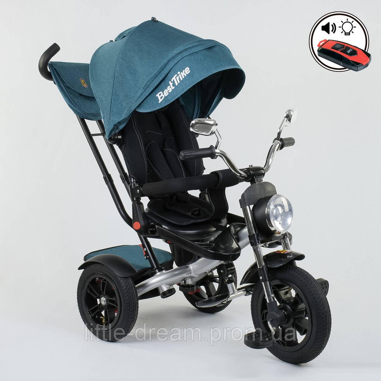 Велосипед 3-х колёсный Best Trike 4490 - 2209, поворотное сиденье, складной руль, русское озвучивание, надувные колеса, пульт включения звука и света