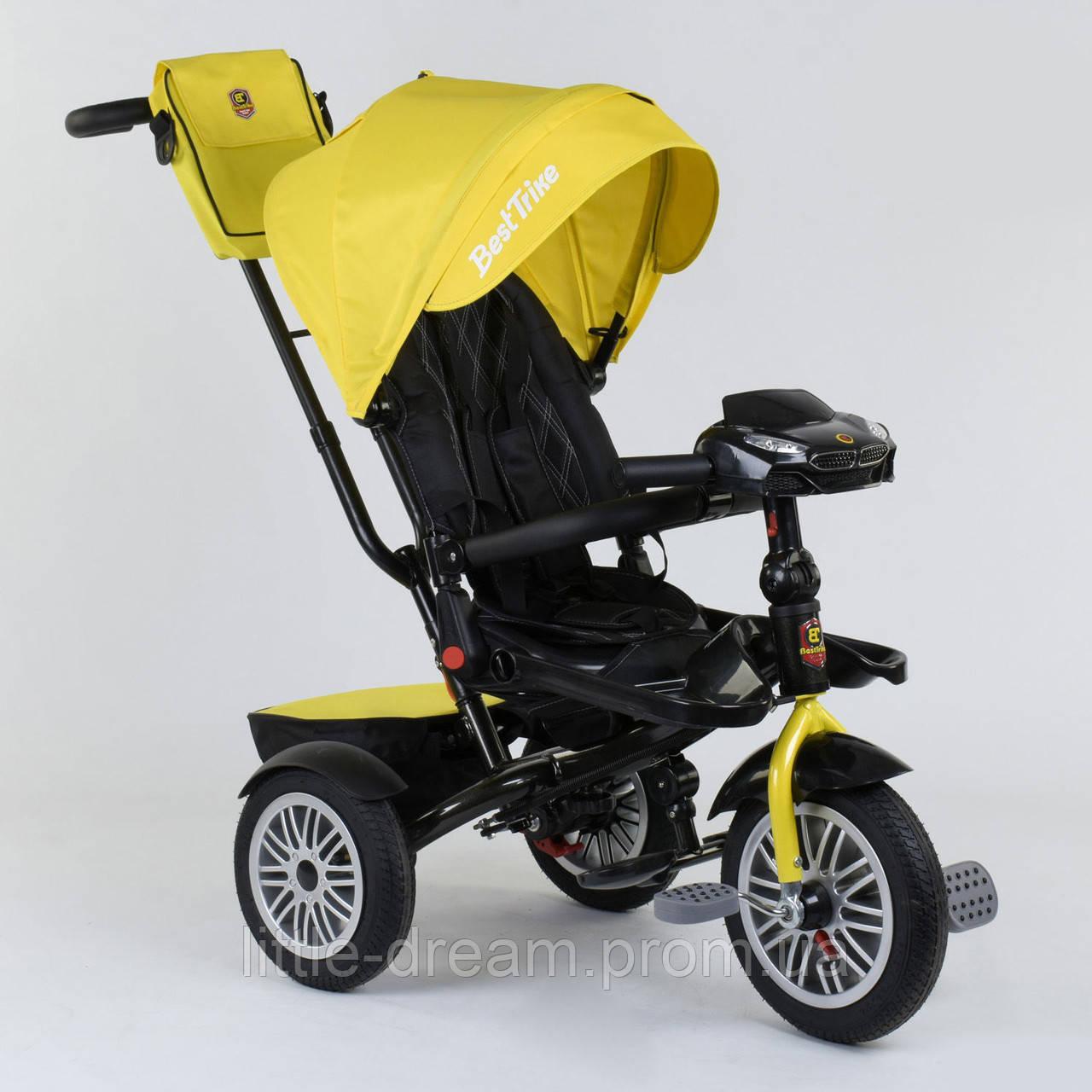 Велосипед 3-х колёсный Best Trike с поворотным сиденьем 9288 В - 4835, складной руль, русское озвучивание, надувные колеса, пульт включения света и
