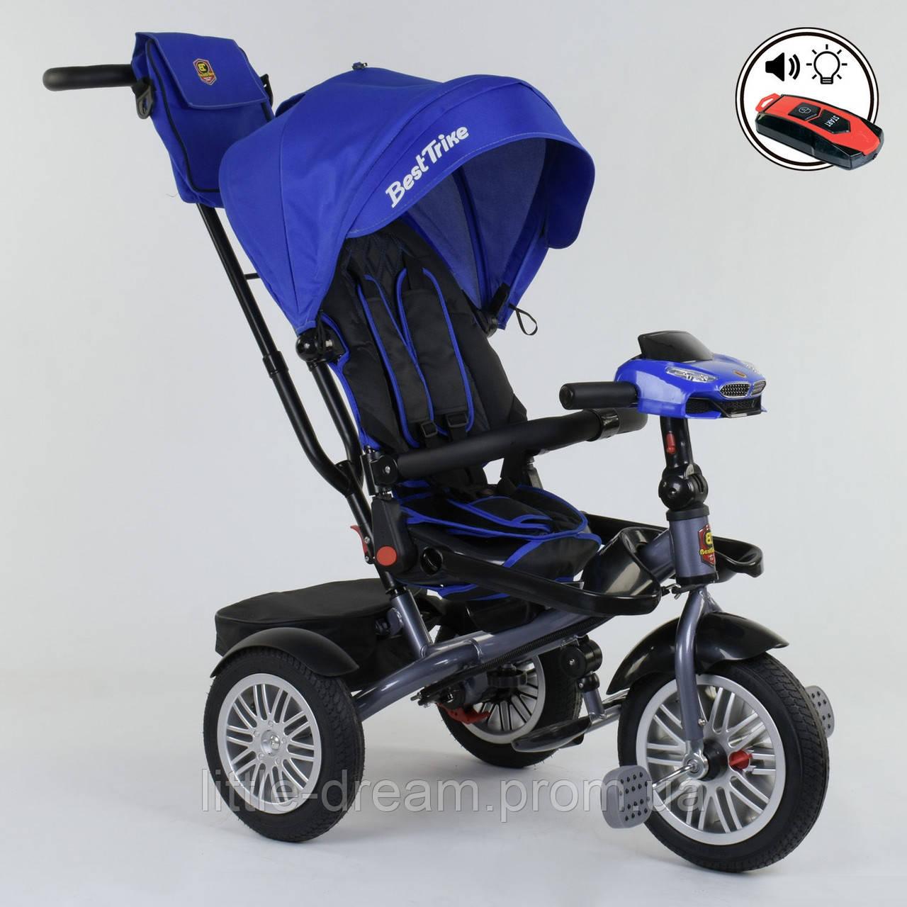 Велосипед 3-х колёсный Best Trike с поворотным сиденьем 9288 В - 3105, складной руль, русское озвучивание, надувные колеса, пульт включения света и