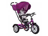 Велосипед трехколесный с ручкой детский Turbo Trike M 4057-8, надувные колеса, фуксия